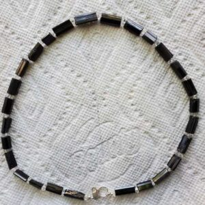 BlackTourmaline with Herkimer Diamond Beads
