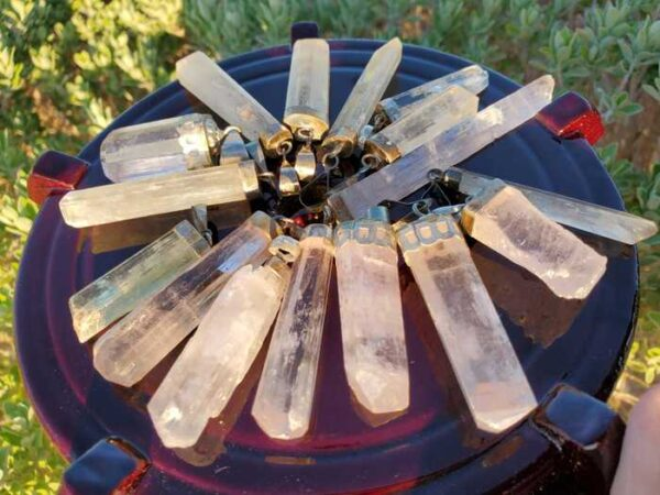 Kunzite Crystal Pendant with Silver