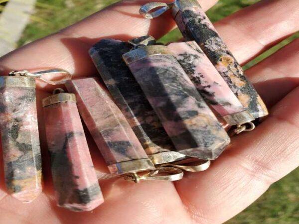 Rhodonite Polished Crystal Pendant