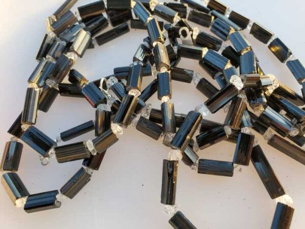 Black Tourmaline with Herkimer Diamond Quartz Beads